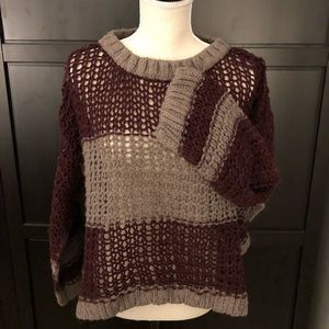 Free People Burgundy and Khaki Open Weave